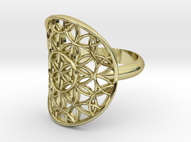 Flower of Life ring in 18k Gold Plated Brass
