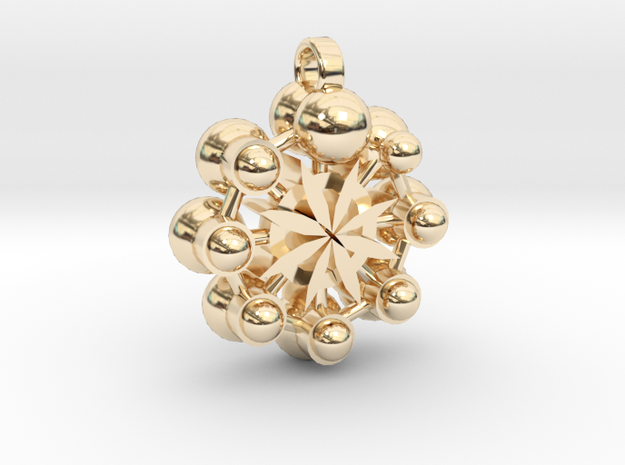 Flower Of Life In Circular Multiverse Love Engine in 14K Yellow Gold