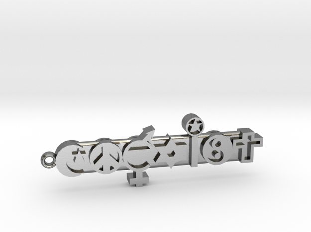 COEXIST, With Loop For Keychain in Polished Silver