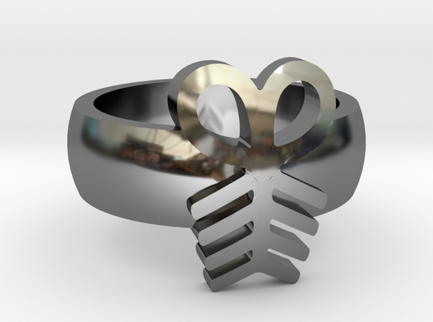 Adinkra Rings - Series 2: Aya in Fine Detail Polished Silver