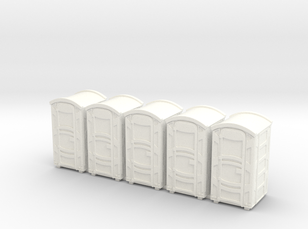 Portable Toilet 01. HO Scale (1:87) in White Strong & Flexible Polished