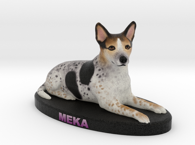 Custom Dog Figurine - Meka in Full Color Sandstone