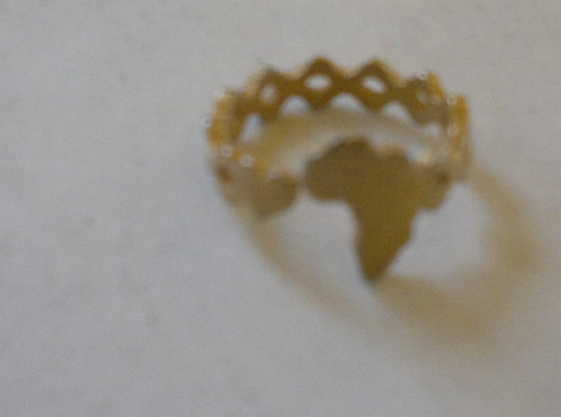 Love Africa Ring Size 8 3d printed Ring in gold plated