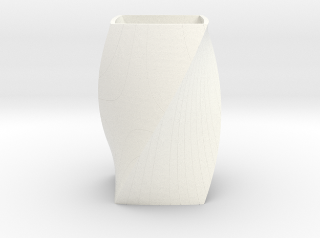 Twisted Vase in White Strong & Flexible Polished