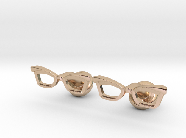 Hipster Glasses Cufflinks Female in 14k Rose Gold Plated Brass