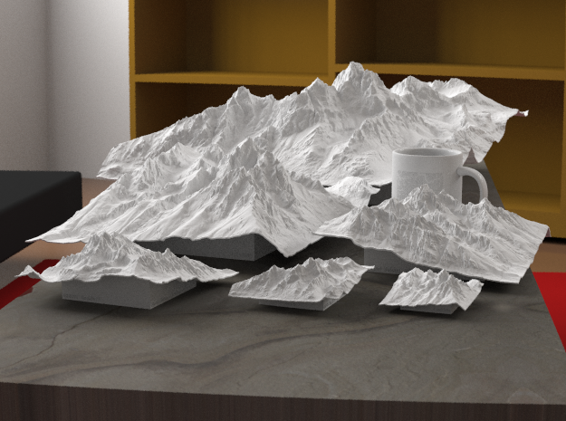"3'' Grand Tetons Terrain Model, Wyoming, USA 3d printed Rendering of all available sizes: 3"", 4"", 6"", 8"", 12"", 20"""