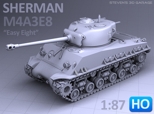 Sherman M4A3E8 Tank - (1:87 HO) in Frosted Ultra Detail