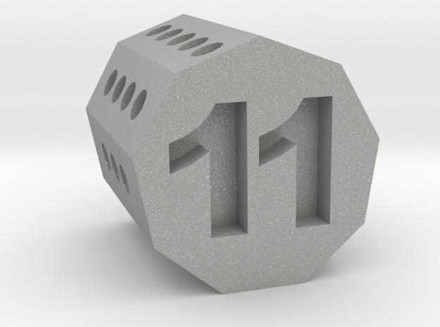 d11 Nonagonal Prism (spin̈al tap novelty die) in Aluminum
