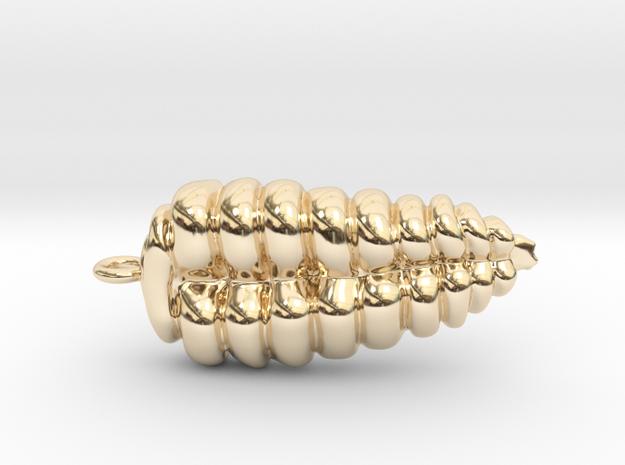 Rattlesnake Rattle Pendant/Earring in 14K Gold