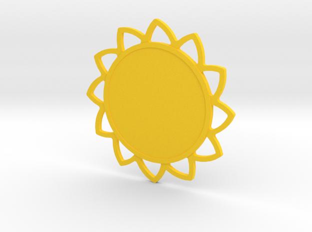 Custom Mandala Pendant Sunflower in Yellow Processed Versatile Plastic