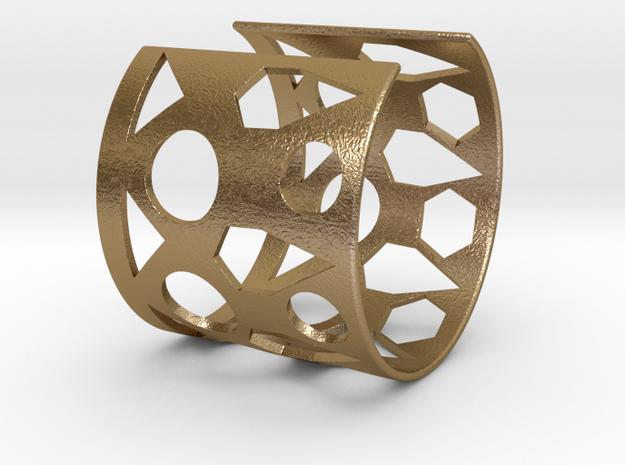 Cubic Bracelet Ø68 Mm/Ø2.677 inch Style A Large in Polished Gold Steel
