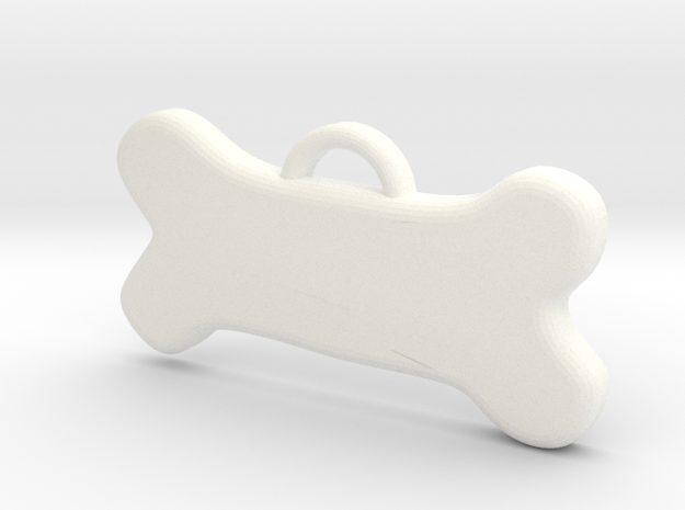 Bone Tag For Dog Customizable in White Processed Versatile Plastic