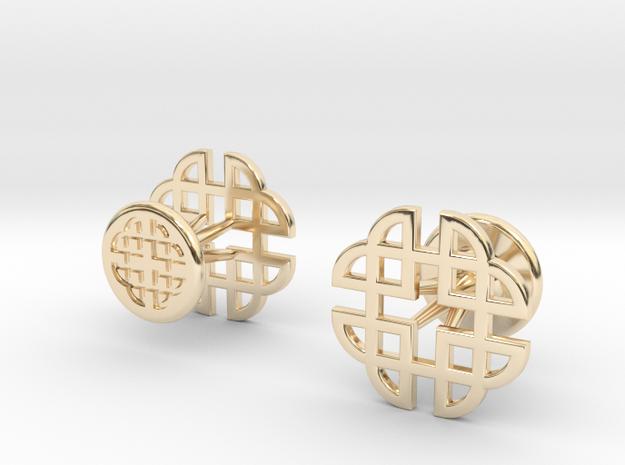 CELTIC KNOT CUFFLINKS 021316 in 14k Gold Plated Brass