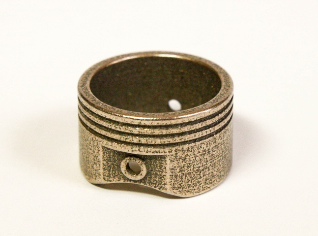 Piston - US Size 8 SS in Polished Bronzed Silver Steel
