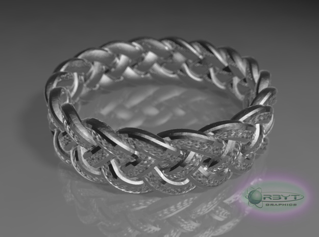 Best Celtic Knot Ring yet - size 10 3d printed Raytraced DOF render - glossy silver material