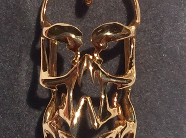 Skull Pendant 02 3d printed Gold Plated Brass