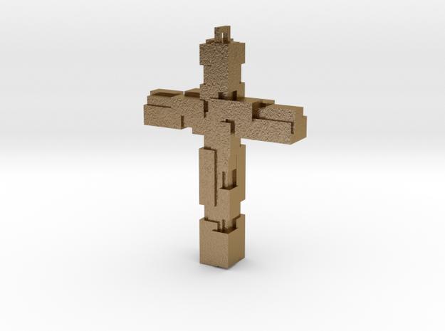 Block Cross in Polished Gold Steel