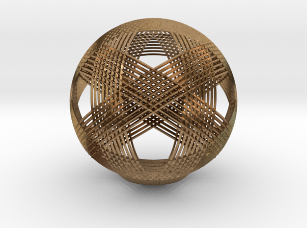 Icosahedron vertex symmetry weave in Natural Brass