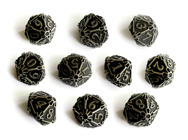 Premier 10d10 Dice Set in Polished Bronzed Silver Steel