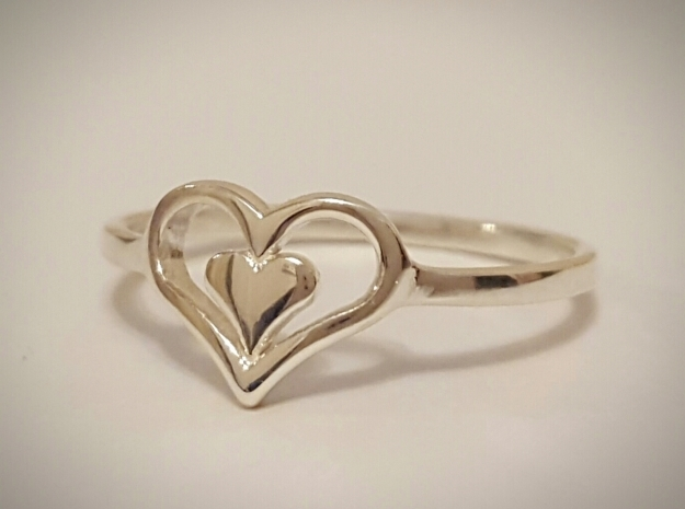 Heart Ring Size 8.5 in Polished Silver