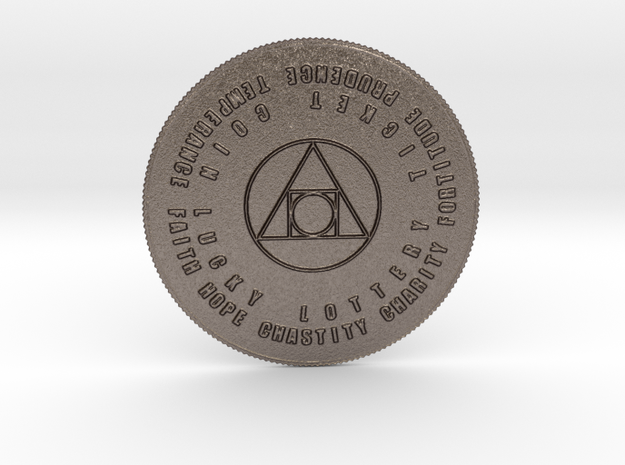7 Virtues Philosopher's Stone Lottery Coin in Stainless Steel