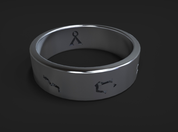 Stargate Ring size 12 (UK size Y) in Polished Silver