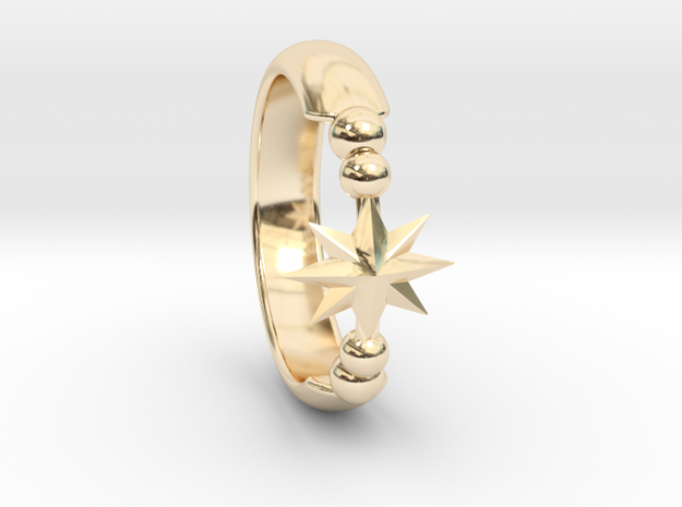Ring of Star 14.9mm in 14K Yellow Gold
