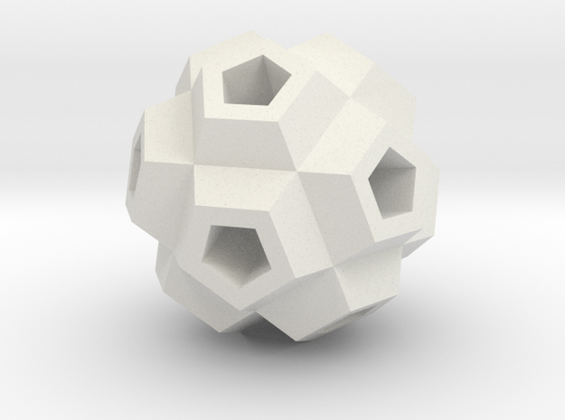 Coral Polyhedron Pendant in White Strong & Flexible
