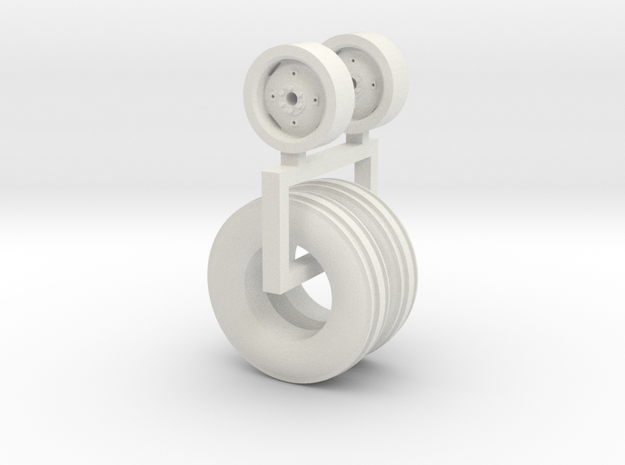 1/64 9.50-20 Wheel And Tire pair in White Natural Versatile Plastic
