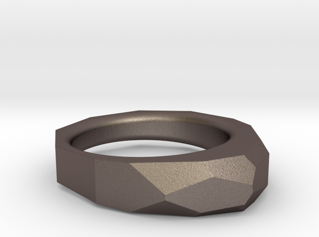 Decagon Faceted Ring 4.5 in Polished Bronzed Silver Steel