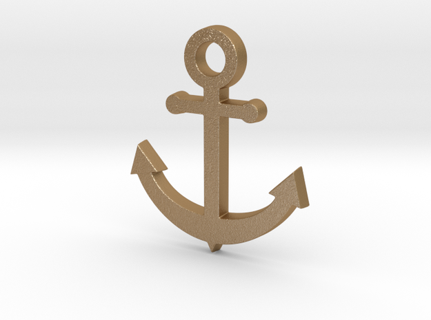 Anchor Pendant in Matte Gold Steel