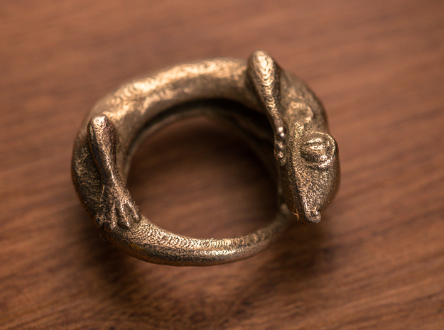 (Size 13) Gecko Ring in Stainless Steel
