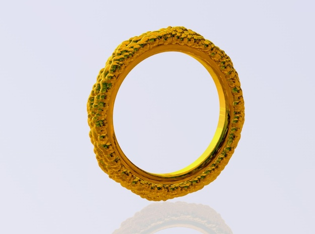 Organic Ring 3d printed render in gold-plated brass