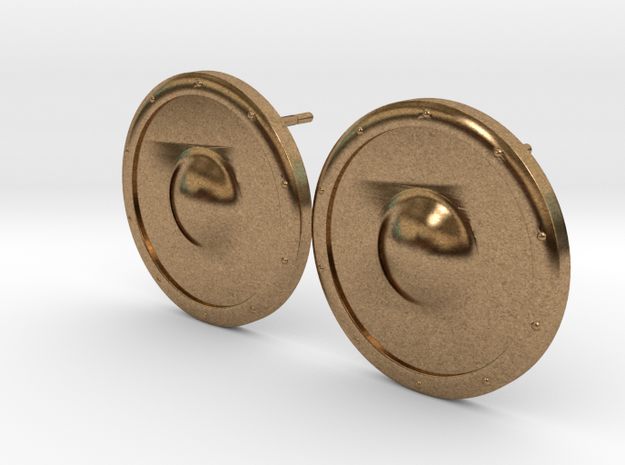 Plain Round Shield Earring Set in Natural Brass
