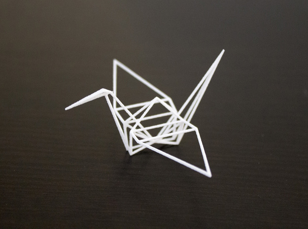 Wireframe Origami Crane in White Strong & Flexible: Small