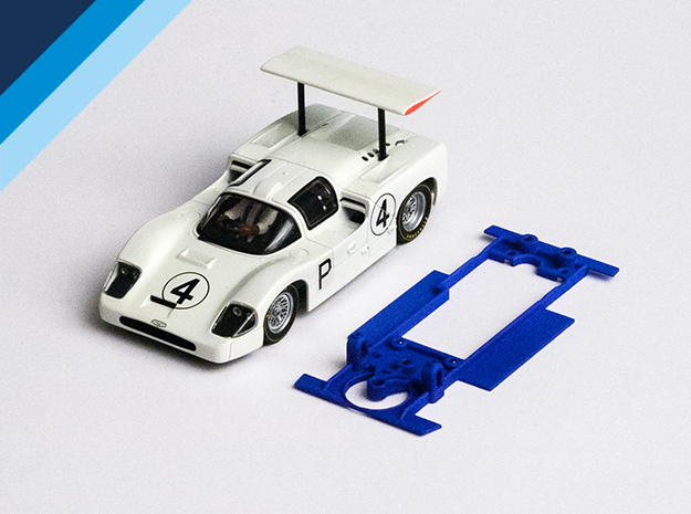 1/32 MRRC Chaparral 2F Chassis for Slot.it pod in Blue Strong & Flexible Polished