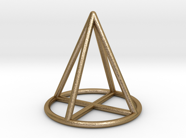 Cone Geometric Pendant in Polished Gold Steel