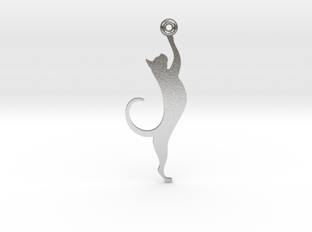 Cat Earring in Raw Silver