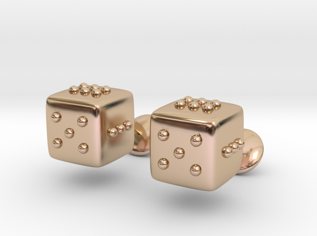 Dice Cufflinks in 14k Rose Gold Plated