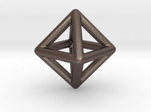 Minimal Octahedron Frame Pendant Small in Polished Bronzed Silver Steel