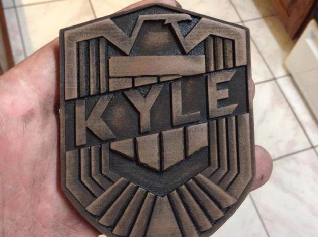 Dredd Badge with your name 1/1 Scale 3d printed White Strong and Flexible painted to look metal.