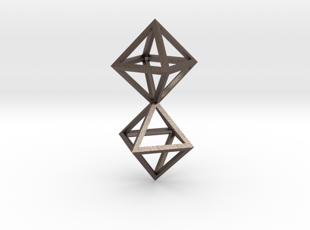 Faceted Twin Octahedron Frame Pendant in Stainless Steel