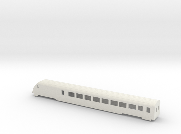 SBB IC Stwg Wagenkasten (V2) Scale TT in White Natural Versatile Plastic: 1:120