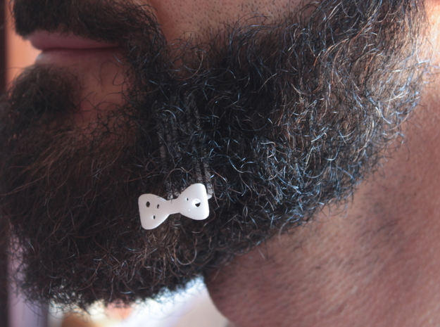 Papillon for beard - lateral wearing in White Natural Versatile Plastic