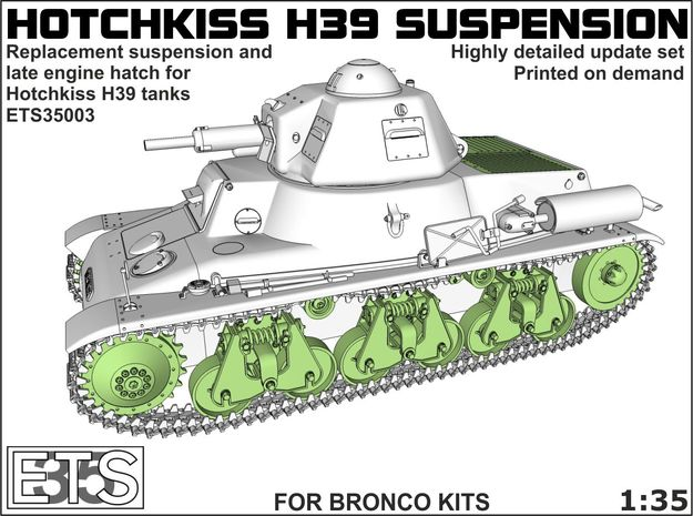 ETS35003 Hotchkiss H39 running gear + engine hatch in Smooth Fine Detail Plastic