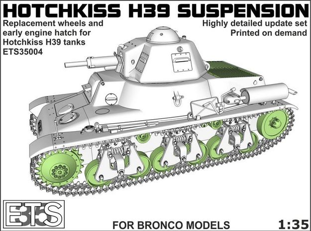 ETS35004 Hotchkiss H39 wheels + early engine hatch in Smooth Fine Detail Plastic