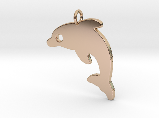 Dolphin V2 Pendant in 14k Rose Gold Plated Brass