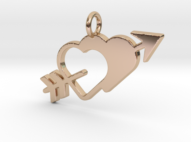 Love Arrow Pendant - Amour Collection in 14k Rose Gold Plated Brass