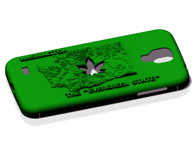 Galaxy S4 Washington Marijuana Leaf in Green Processed Versatile Plastic