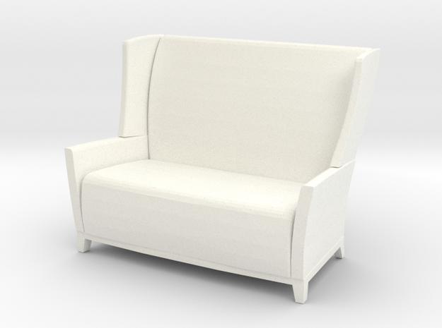 Aspen Wing Back Settee 1-12 in White Processed Versatile Plastic
